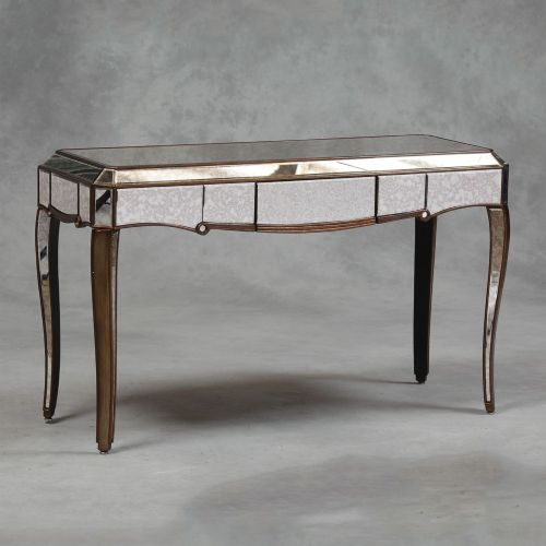 Venetian Antique Mirrored Gold Edged Console Table